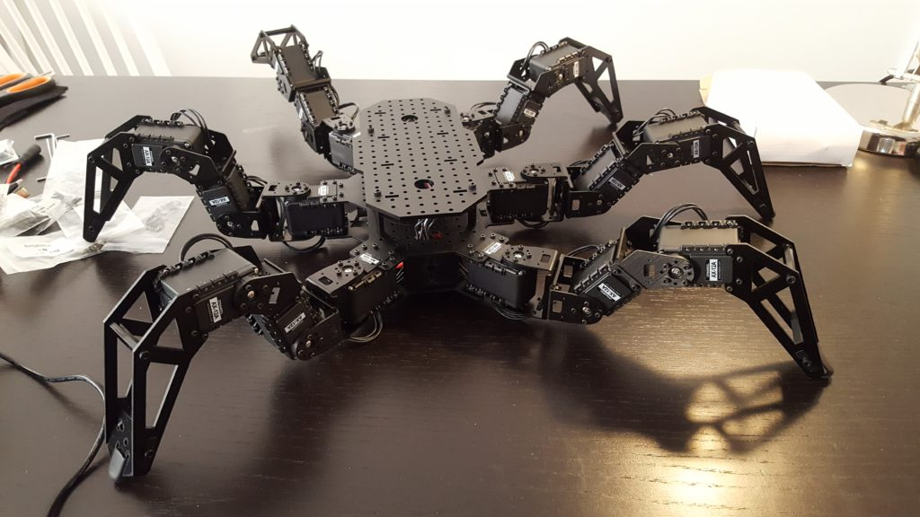 Mary Jane - Our six legged robot spider - The PhantomX AX Metal Hexapod Mark III Kit